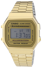 Casio Casio Collection LCD-screen/Yellow gold toned steel A168WG-9EF