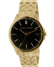 Emporio Armani Smart Black/Yellow gold toned steel Ø45 mm AX2145
