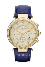 Michael Kors Parker Yellow gold toned/Leather Ø39 mm MK2280