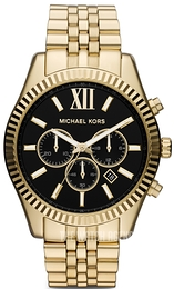 Michael Kors Lexington Black/Yellow gold toned steel Ø45 mm MK8286