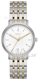 DKNY Dress White/Yellow gold toned steel Ø36 mm NY2505